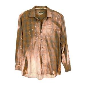 Upcycled Grunge Bleach Dye Plaid Flannel Shirt M